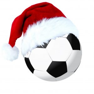 Football and a christmas cap for your decoration
