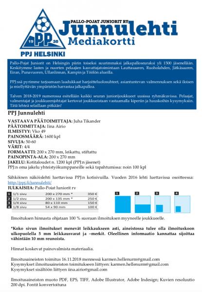 Mediakortti Junnulehti kevät 2019